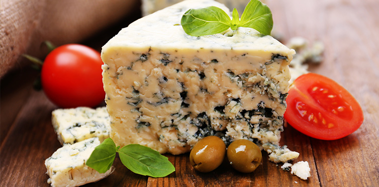 Tasty blue cheese with tomato