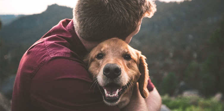 man hugging tan dog