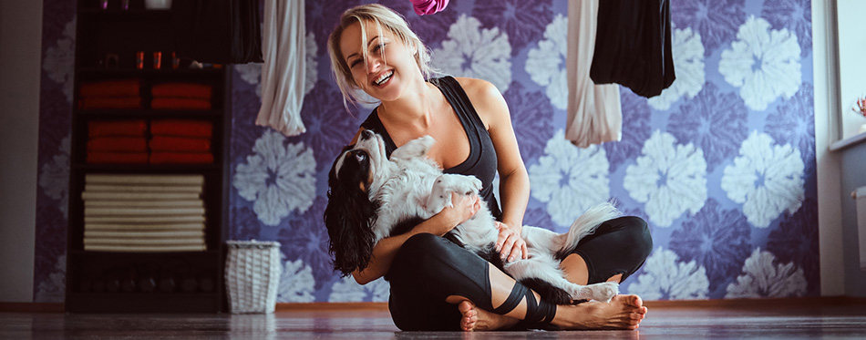 Attractive woman playing with her cute dog while sitting
