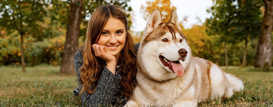 Young female in autumn park walks with a husky dog