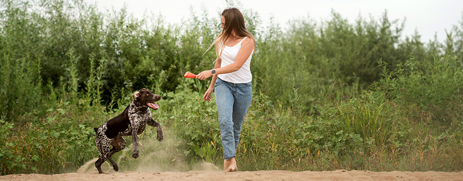 Attractive girl walking the dog.