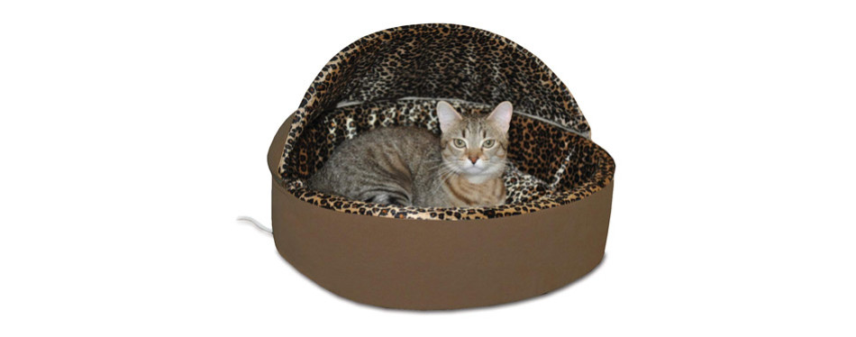 K&H Pet Products Thermo-Kitty Leopard Heated Cat Bed