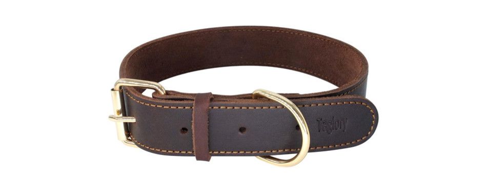 taglory genuine leather dog collars