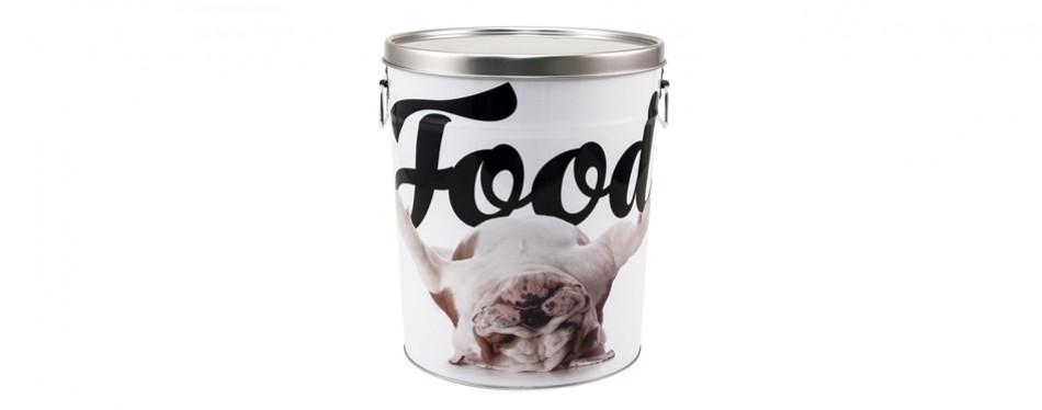 paw prints tin food bin