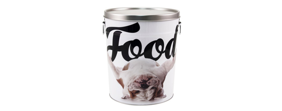 paw prints tin food bin