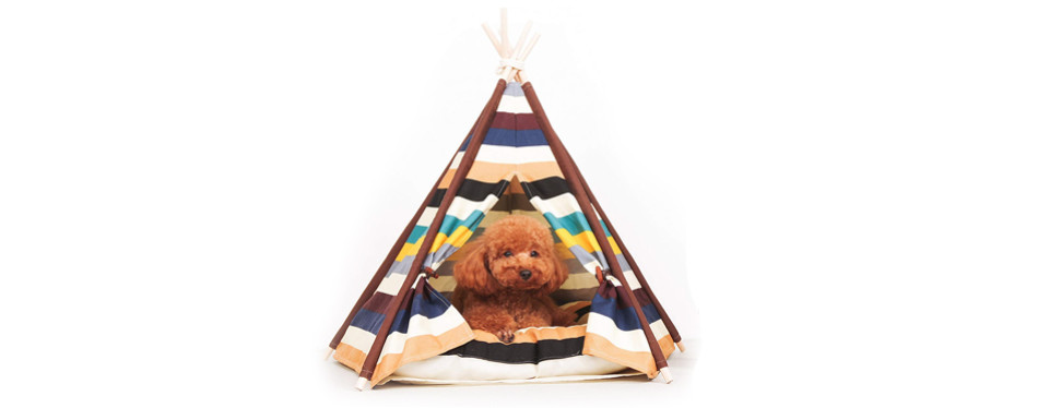striped dog teepee bed