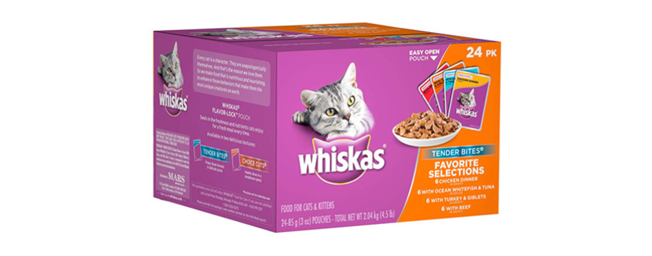whiskas tender bites favorite selections wet cat food